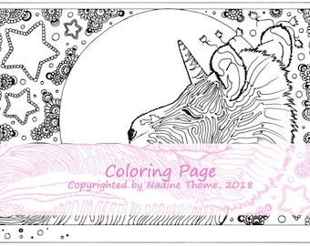 Hand drawn Zebra Unicorn Coloring Page 3, black and gray, fairy-tales, fantasy, foals, filly, stars, colouring, adults, advanced, boho, art