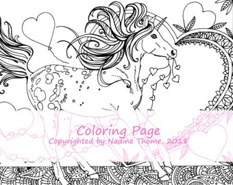 hand drawn Unicorn Coloring Page 5, filly, foal, valentines day, adults, advanced, black and gray, hearts, boho, bohemian, pony illustration