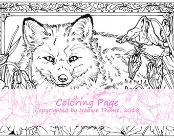 Hand drawn Coloring Page Fox and Columbine, gray, black and white, coloring book, wildlife, flowers, boho, animals, foxes, garden, forest