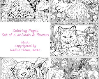 Set of 5 Coloring Pages in black line work, Animals and Flowers, coloring, peacock, otter, fox, owl, alpaca, Lotus, columbine, morning glory