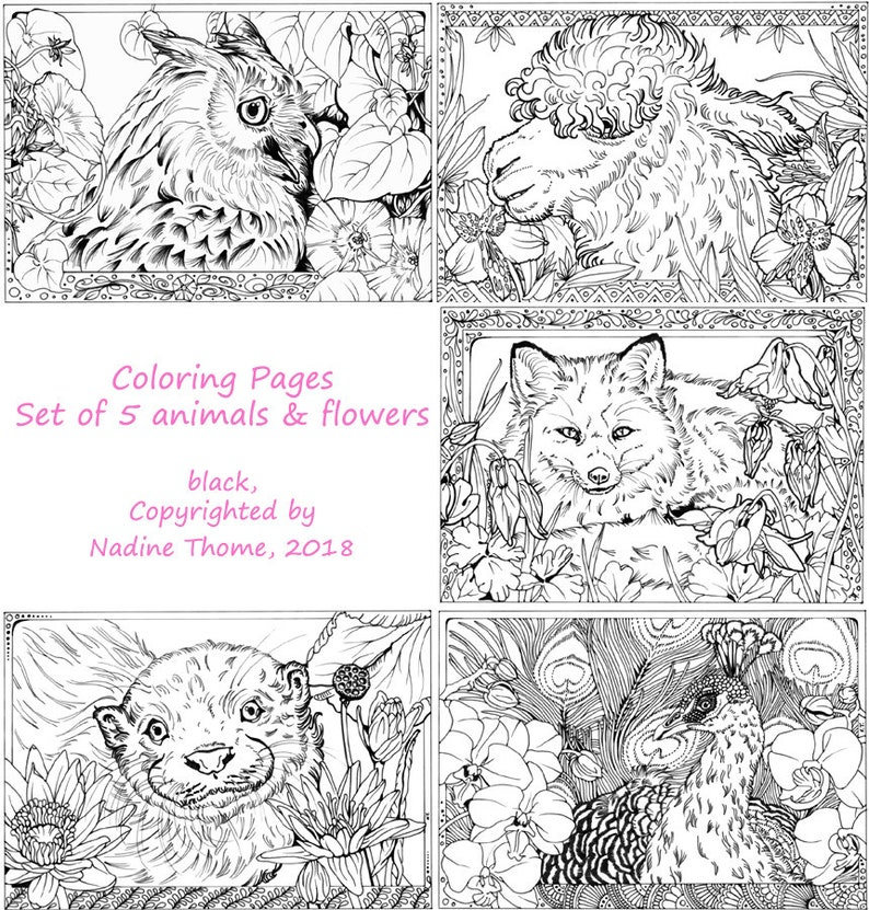 400 Coloring Pages Of Animals And Flowers Pictures