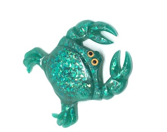 Aqua Crab Brooch - Vintage Reproduction Bakelite/Confetti Lucite