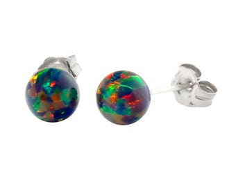 850b505f5 Aurora: Black Opal Ball Stud Earrings, 925 Sterling Silver, Black Opal  Earrings, Silver Opal Earrings, Opal Earrings, Australian Black Opal