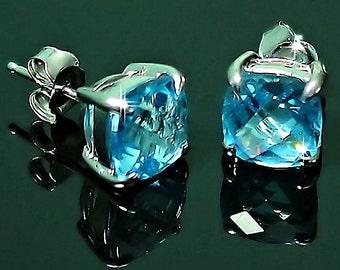 Blue Topaz Pencil Earring Blue Topaz Gemstone Handmade Ethnic 925 Silver Plated Jewelry Earring 1.8 Blue Topaz Earring Point