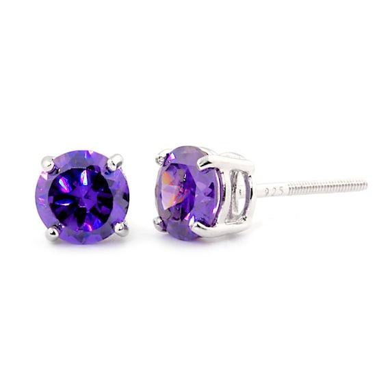 Purple Amethyst CZ ~ February Solid 10k White Gold Square Stud Earrings
