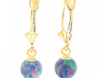 Lavender Opal Ball Drop Leverback Earrings, Yellow Gold Leverback Earrings, Purple Opal Earrings, Dangle Earrings, Gold Leverbacks