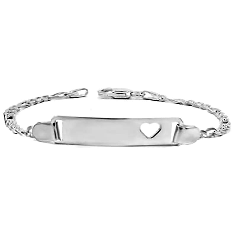 Toddler Baby Bracelet Solid 925 Italian Sterling Silver Bracelet Personalized Engravable ID Bracelet w Heart Shaped Accent Figaro Chain