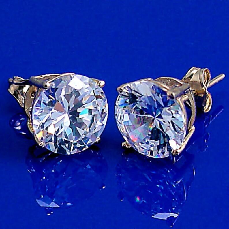 884097288bb0d Stunning 4.0 carat Ice on Fire Diamond CZ Cast Basket Set Stud Earrings 14K  Yellow Gold 8mm