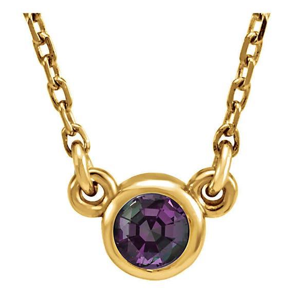 Natural Alexandrite Necklace: 14K Gold Genuine Natural Alexandrite Necklace Bezel Set