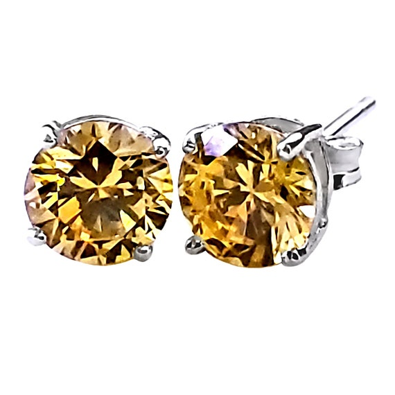 Solid 925 Sterling Silver 3mm Round Simulated Citrine Post Earrings