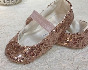 dbc3d8ca1a8c Rose Gold Sequin Shoes with Elastic - Baby Toddler Girl Shoes - Sparkle  Shoes - Flower Girl Shoes - Holiday Shoes - Princess Shoes