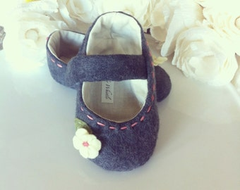 Gray Wool Baby Shoes - Felt Mary Janes - Baby and Toddler Girl