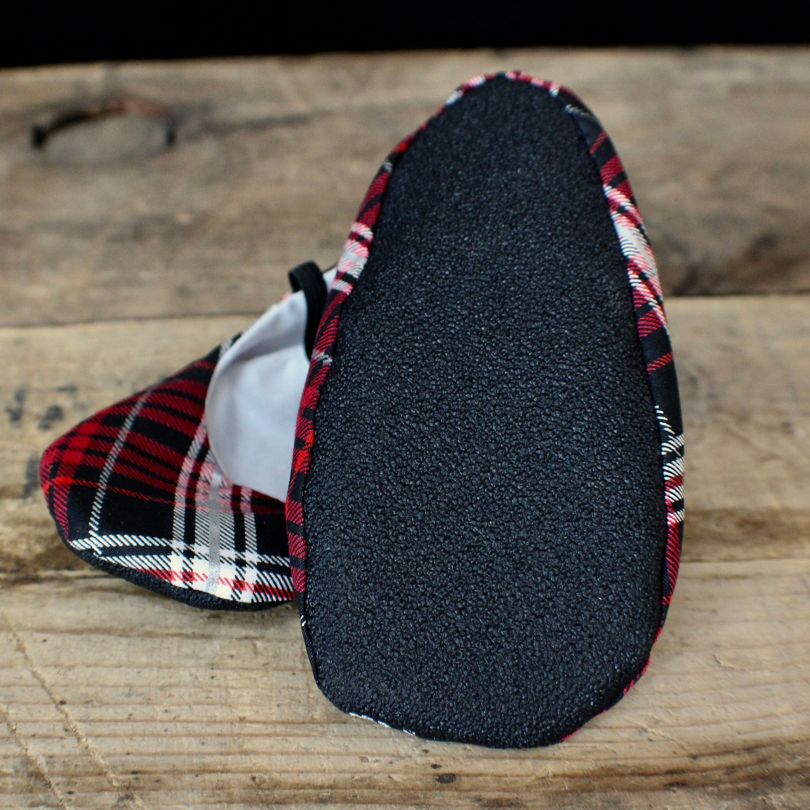 red and black plaid holiday ballet slippers - baby and toddler girl shoes - christmas shoes