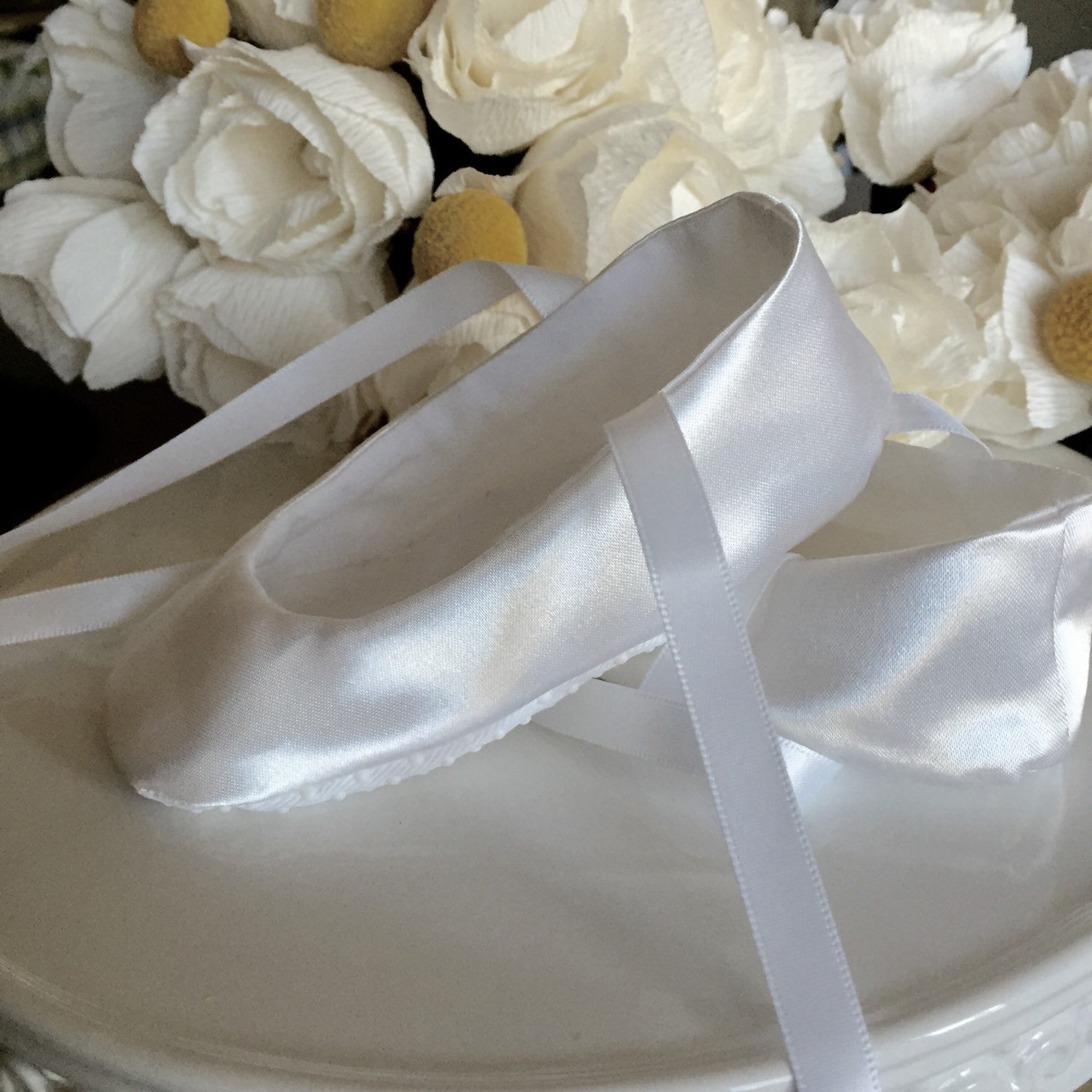 white satin ballet slippers - baby girl shoes, toddler girl - flower girl shoes - christening shoes