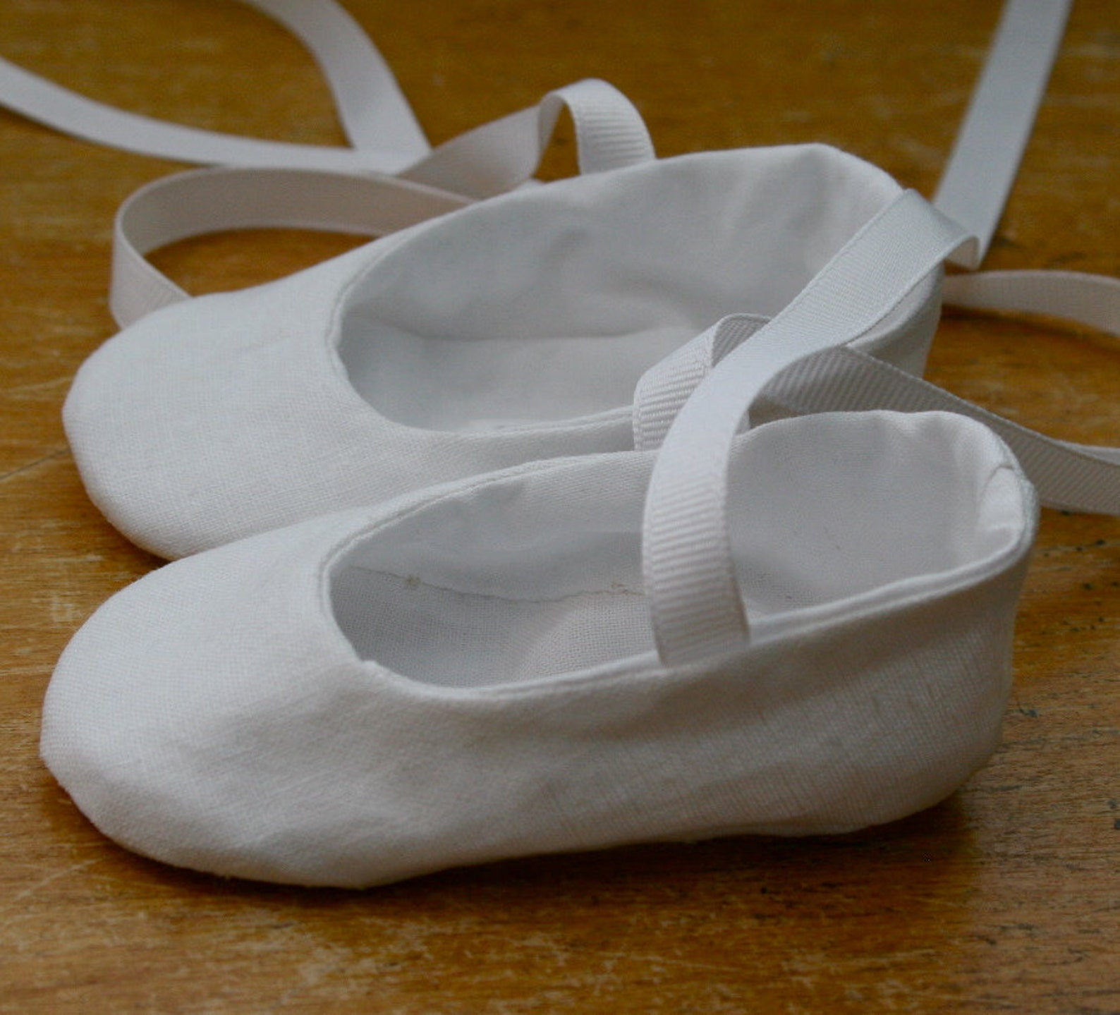 flower girl shoes - white linen ballet slipper baby and toddler girl