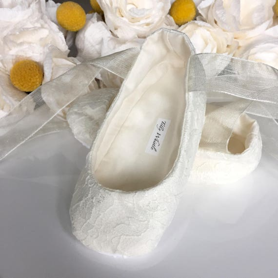 Ivory or white lace ballet slippers flower girl shoes baby etsy image 0 mightylinksfo