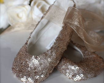 Gold, Pink, or White Sequin Ballet Slippers - Flower Girl Shoes - Baby and Toddler Girl  - Princess Shoes - Baptism, Christening Shoes