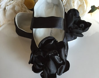 Black Satin Flower Girl Shoes, Baby Girl Shoes, Toddler Girl Shoes, Holiday Dress Shoes