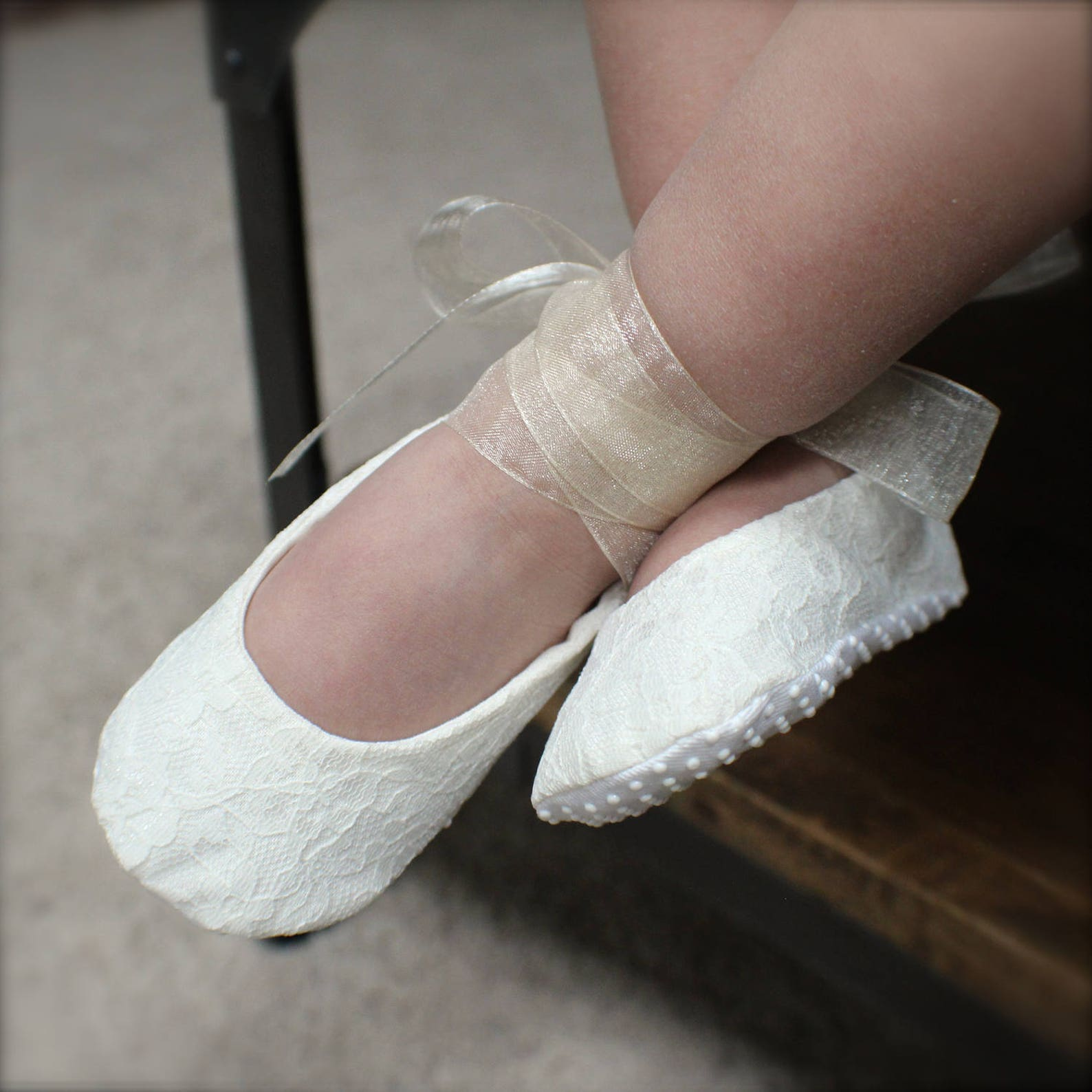 white or ivory lace ballet slippers - flower girl shoes - baby and toddler girl - christening - baptism