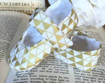 Baby Girl Shoes, Metallic Gold and White Mary Janes - Soft Sole Baby Booties - Toddler Girl