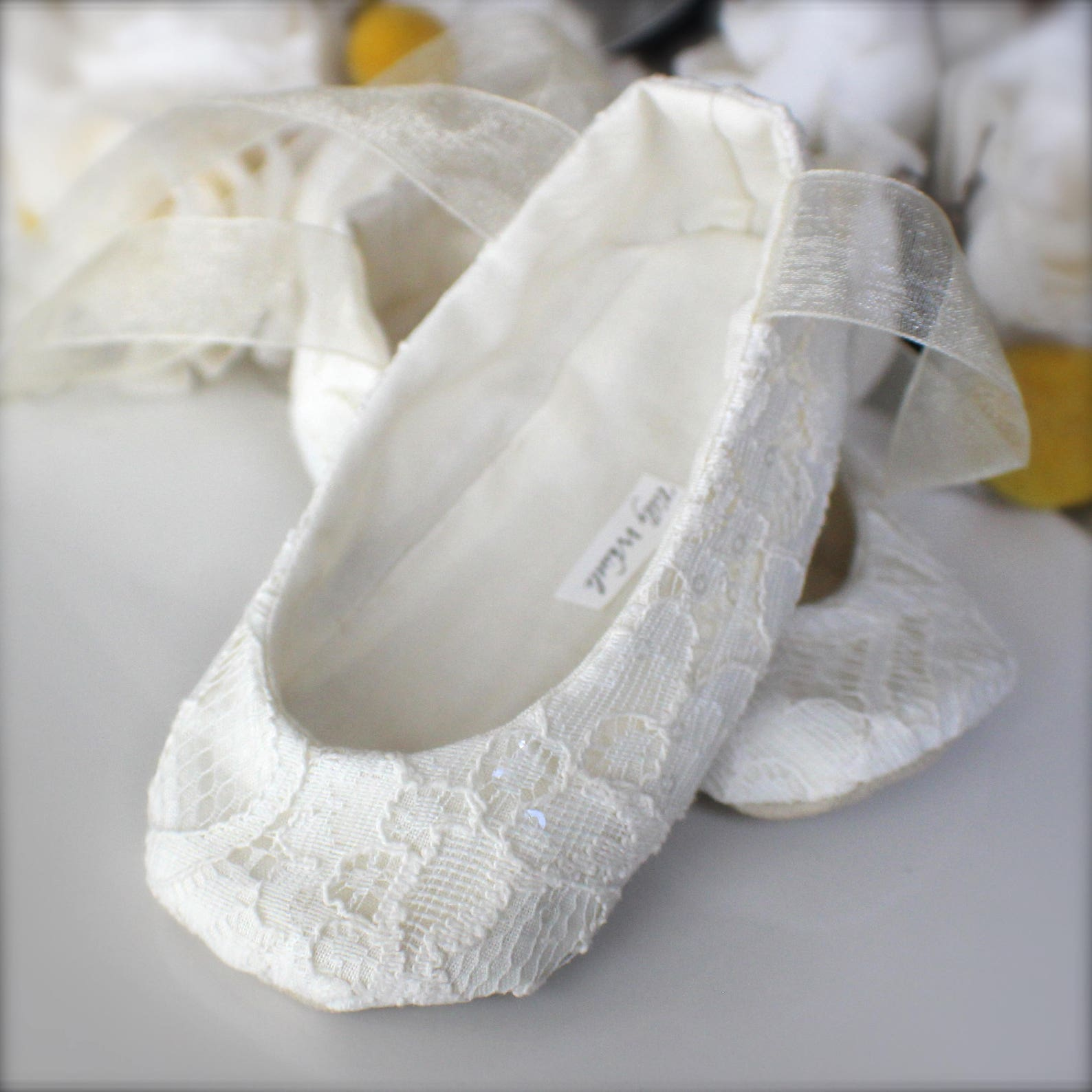 ivory sequin lace ballet slippers - flower girl shoes - baby and toddler girl - christening - baptism
