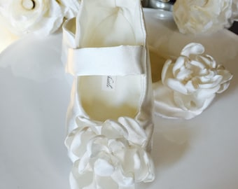 Ivory or White Satin Flower Girl Shoes, Baby Girl Shoes, Toddler Girl Shoes