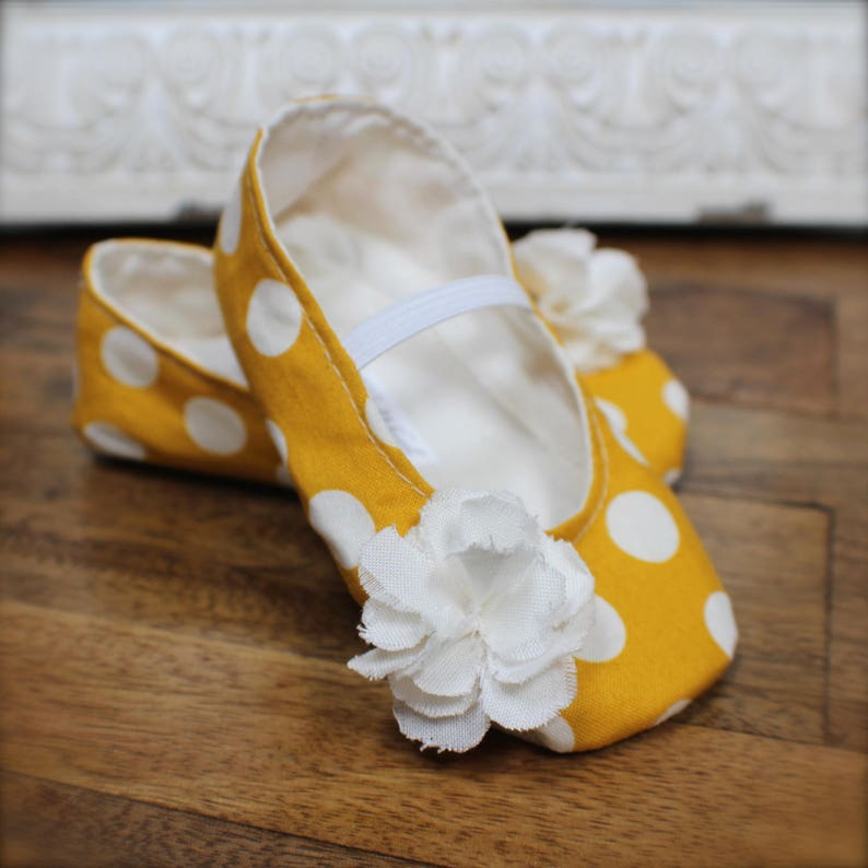 969a67af85354 Mustard Yellow Polka Dot Baby Girl Shoes - Ballet Flats - Toddler Girl  Shoes - Flower Girl Shoes