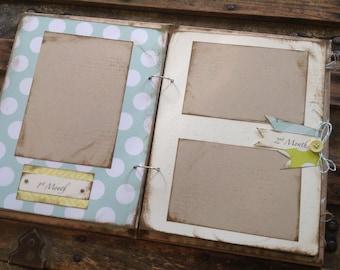 Rustic Baby Boy Book, Blue and Green Modern Baby Book, Handmade Baby Album Scrapbook