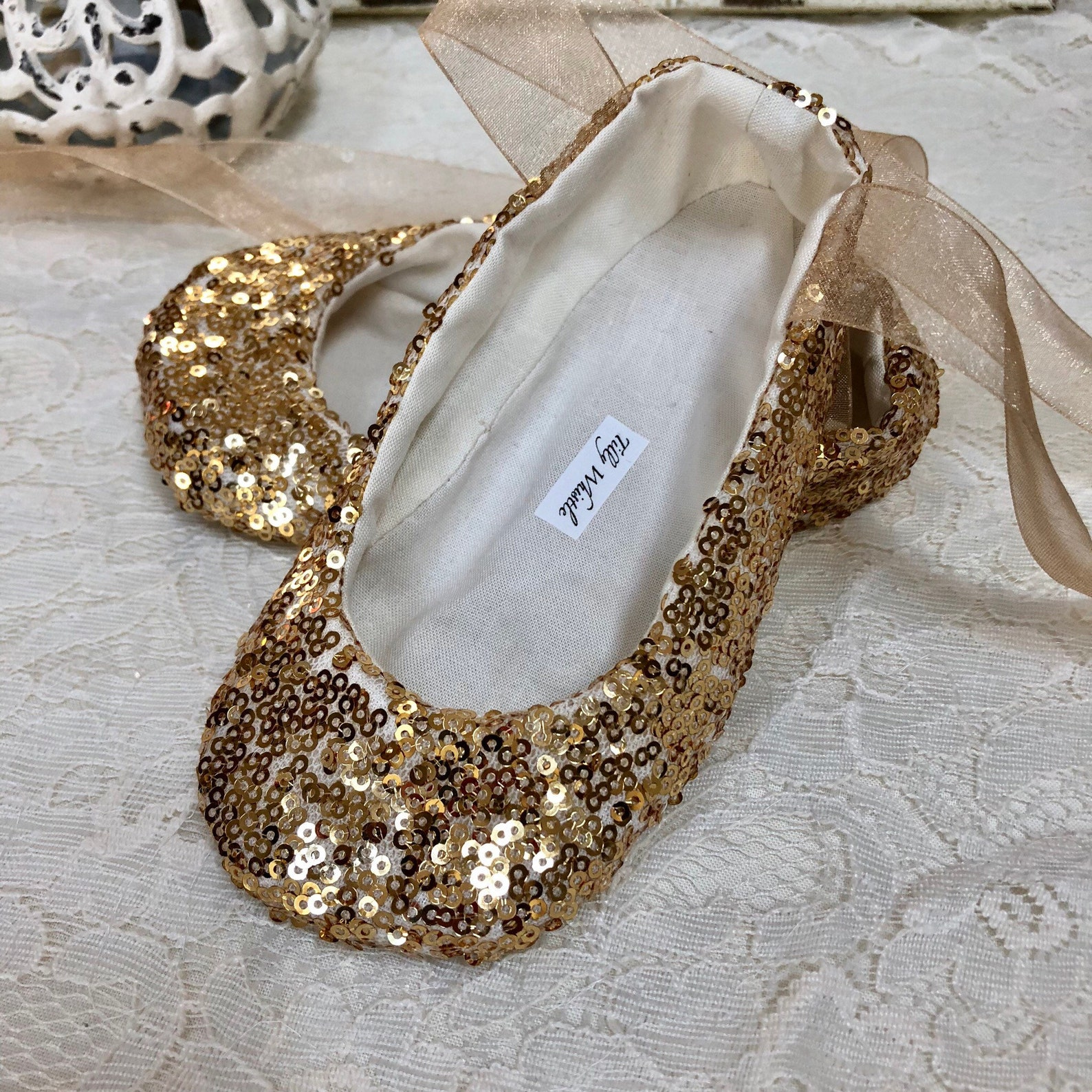 sequin ballet slippers, gold, ivory, white, pink, blush, rose gold - flower girl shoes - baby and toddler girl - princess shoes