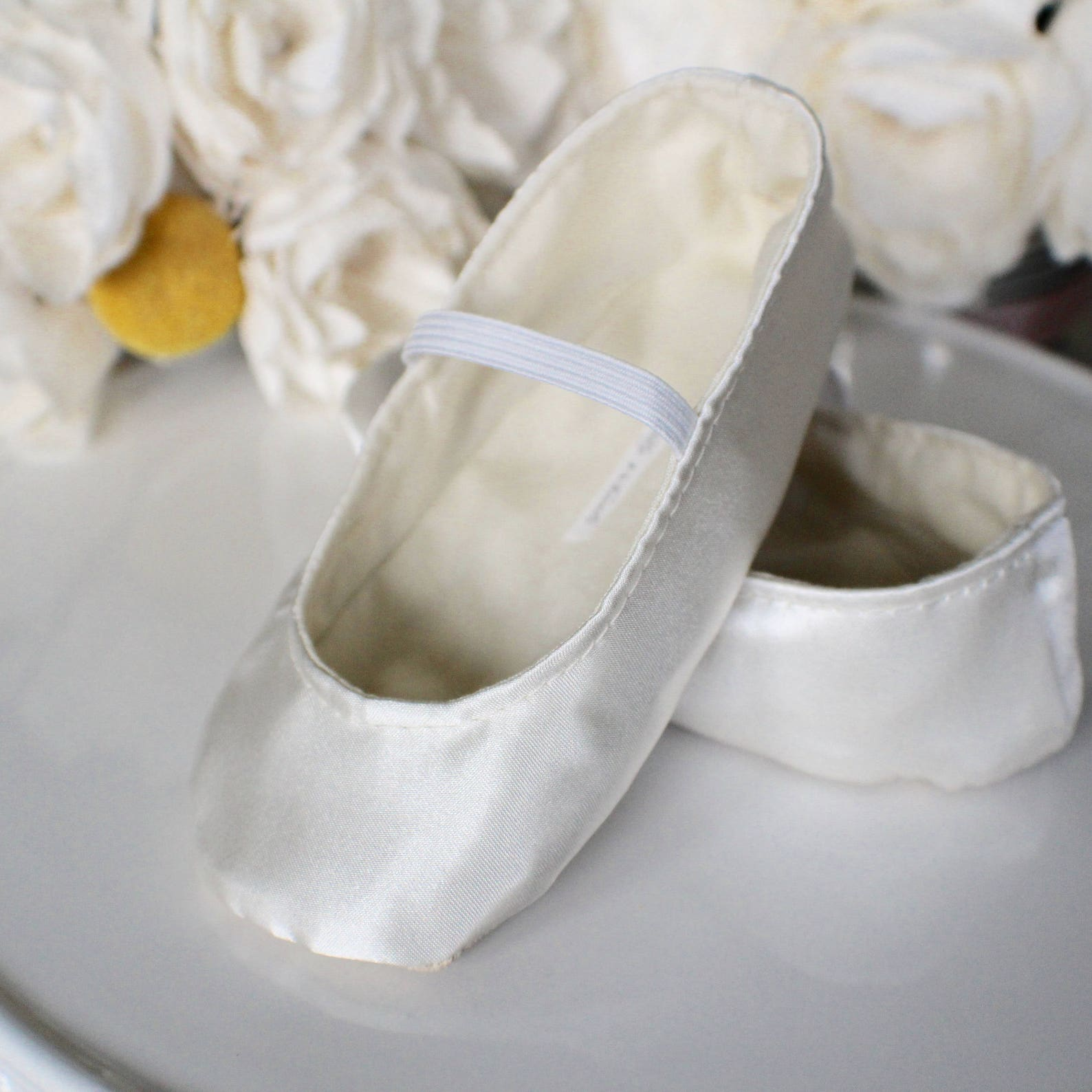 ivory, white, or gold satin baby girl shoes - ballet flats - toddler girl shoes - christening shoes - flower girl shoes - prince