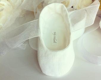 White or Ivory Linen Flower Girl Shoes - Baby and Toddler Girl  - Christening - Baptism