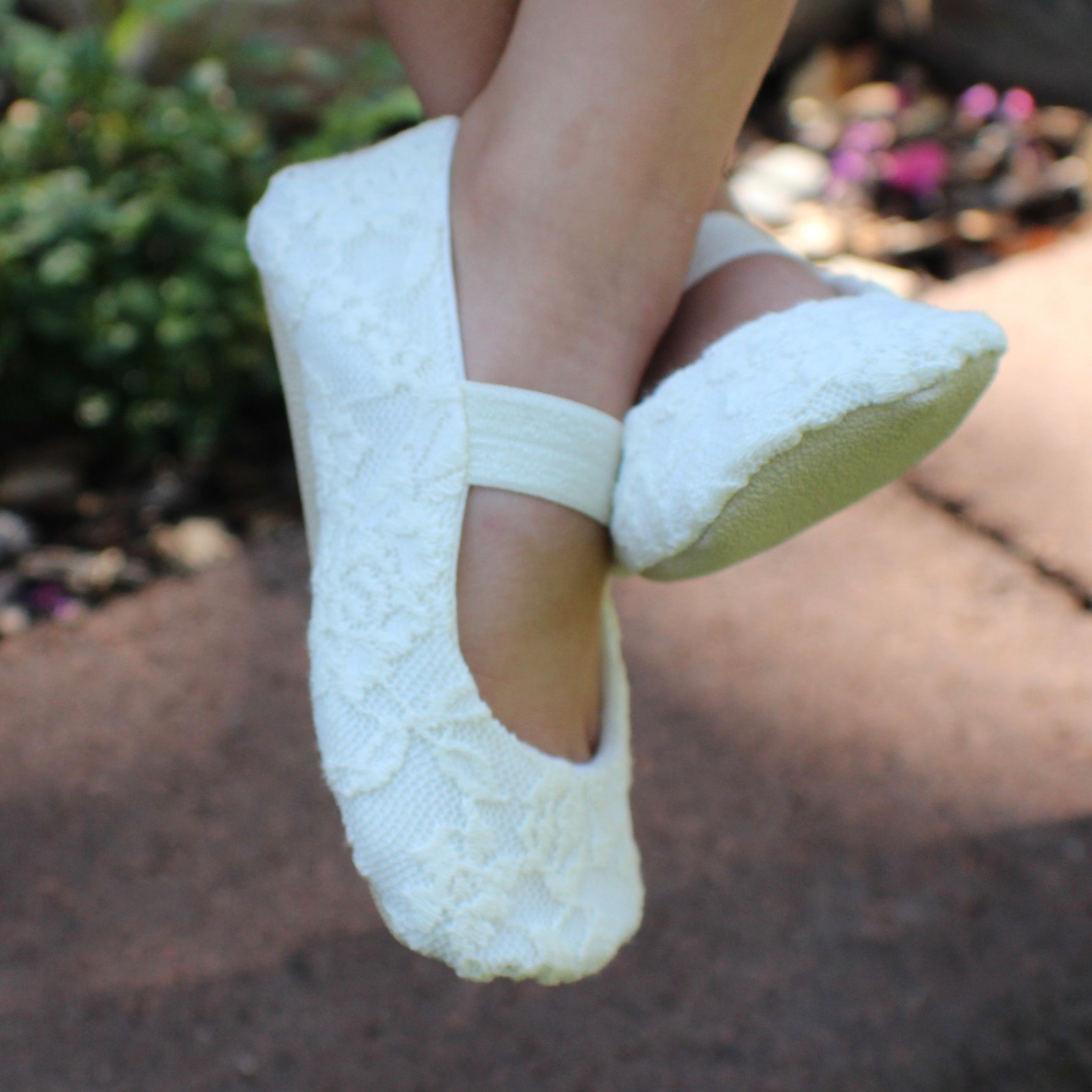 ivory or white lace ballet slippers with elastic - flower girl shoes - baby and toddler girl - christening - baptism - princess