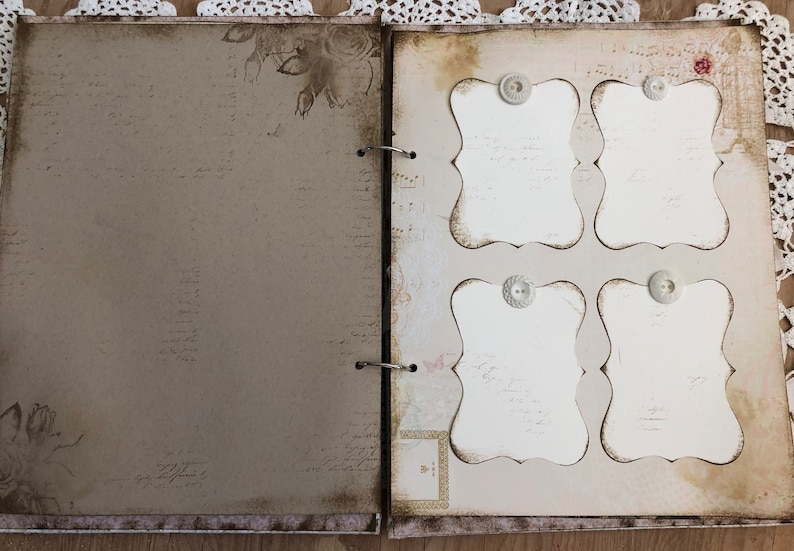 Handmade Rustic Shabby Lace Ready to Ship Blush and Mint Wedding Guest Book