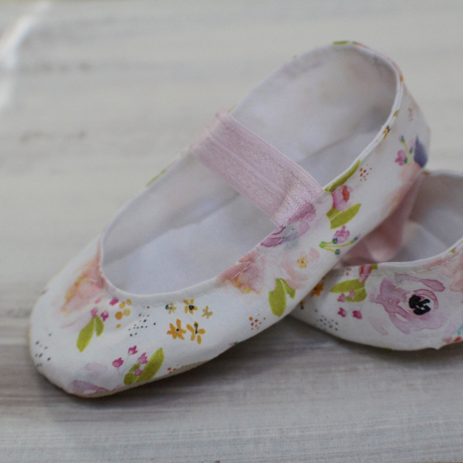 watercolor floral, white and pink, baby girl shoes - ballet flats - toddler girl shoes - princess shoes