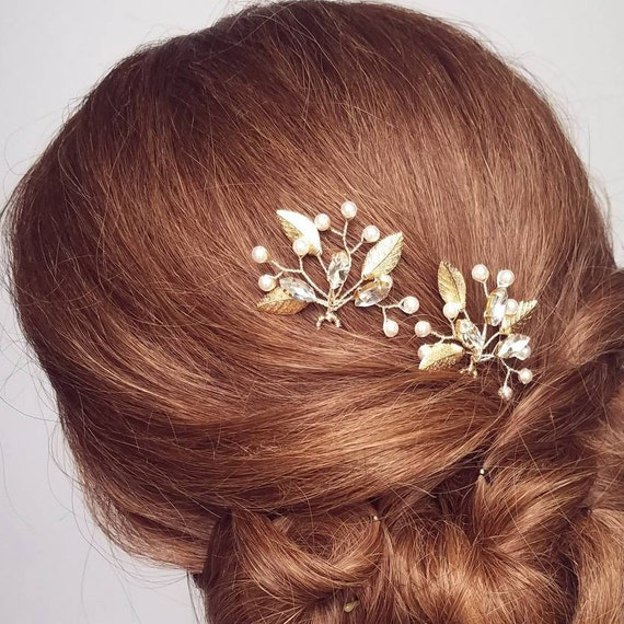 Gold Wedding Hair Piece, Gold Leaf Hair Pins, Bridal Hair Comb, Rhinestone  Headpiece, Gold Hair Vine, Wedding Hair Clips
