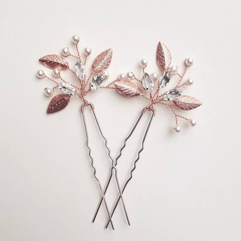 Rose Gold Hair Piece Bridal Hair Comb Bridal Hair Piece image 0