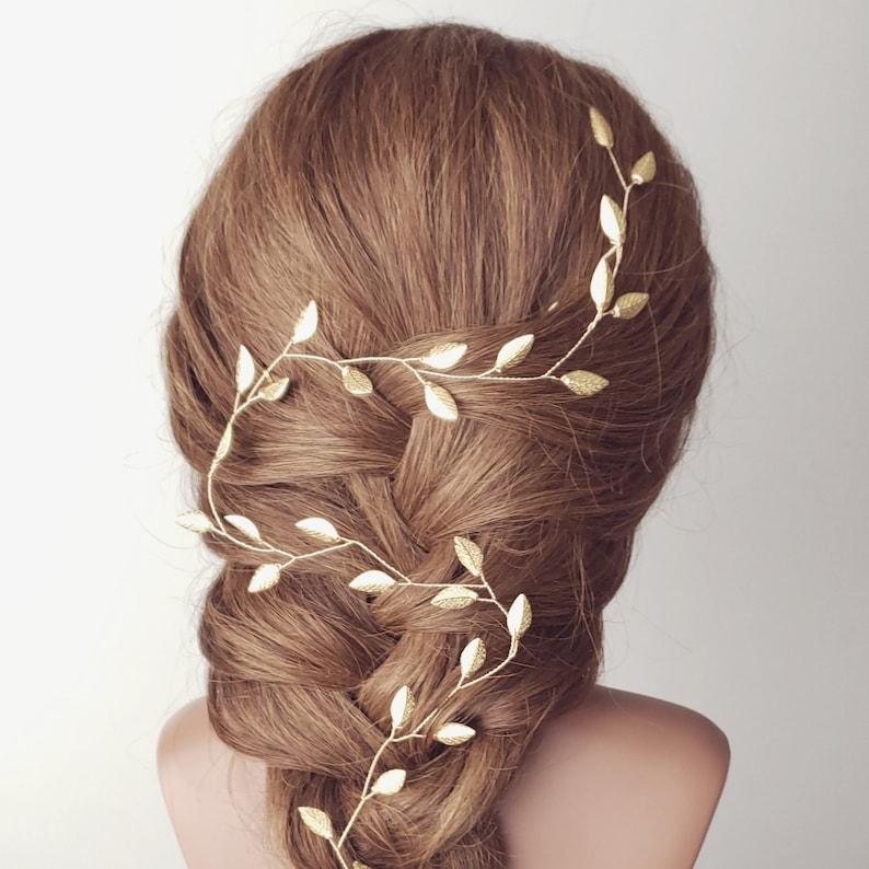 Wedding Hair vine Rose Gold Hair Vine Boho Wedding Rose Gold Tiara Wedding Headpiece Leaf Vine Bridal Hairpiece