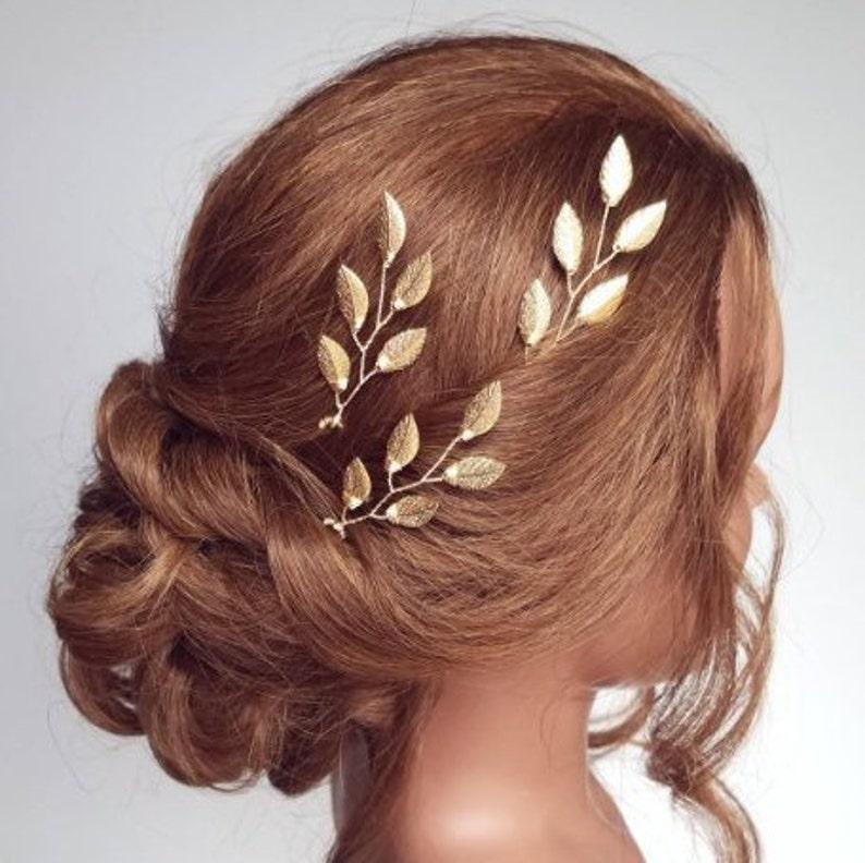 Bridal Headpiece Gold Bridal Hair Vine Gold Leaf Hair Comb image 0