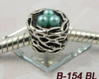 Bird's Nest with eggs ( blue for robin's eggs also pink and white) - European Big Hole Charm