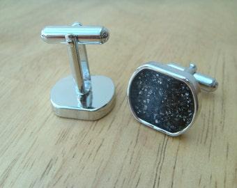Meteorite dust cufflinks