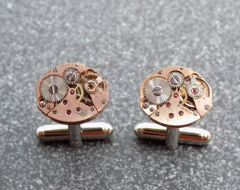 Steampunk Cufflinks with genuine vintage watch movements, ideal gift for christmas