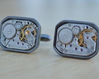 Large rectangular watch movement cuff links with gunmetal surround