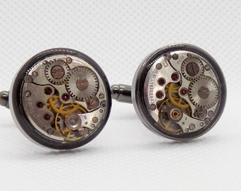 Watch Movement Cufflinks with a protective epoxy layer- As seen on Kickstarter
