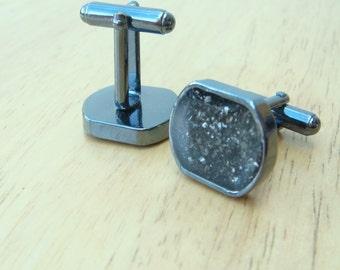 Black Meteorite dust cufflinks ideal wedding ring accessory