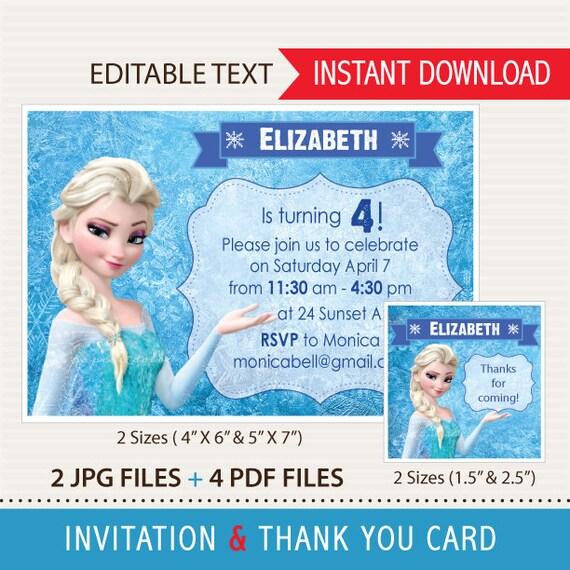 Frozen Invitaciones Editables Y Tarjetas De Agradecimiento Archivos En Pdf Y Jpg