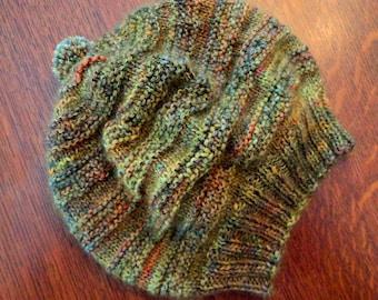 Green/gold Multi Merino Wool & deep Gold Mohair Knitted Women's Hat