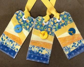 Blue and yellow fabric patchwork handmade scrappy crazy quilt gift tag set