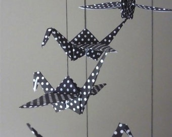 Origami Crane Mobile Children Decor Baby Mobile Nursery Home Black White Polka Dot Birds Classic - Eco Friendly