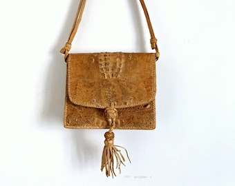 Vintage 1970s Leather Crossbody Bag in Light Brown Reptile Leather Handcrafted