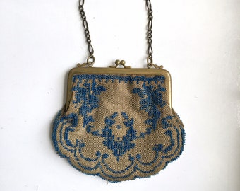 Early 20th century - Antique Circa 1900s/1910s - Blue Seed Beads and Clasp Brass Small Handbag Purse - Interior Satin